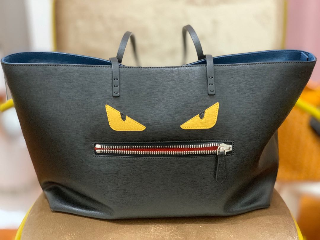 fadb98568df2 Fendi Roll Monster Yellow Eyes Black Tote