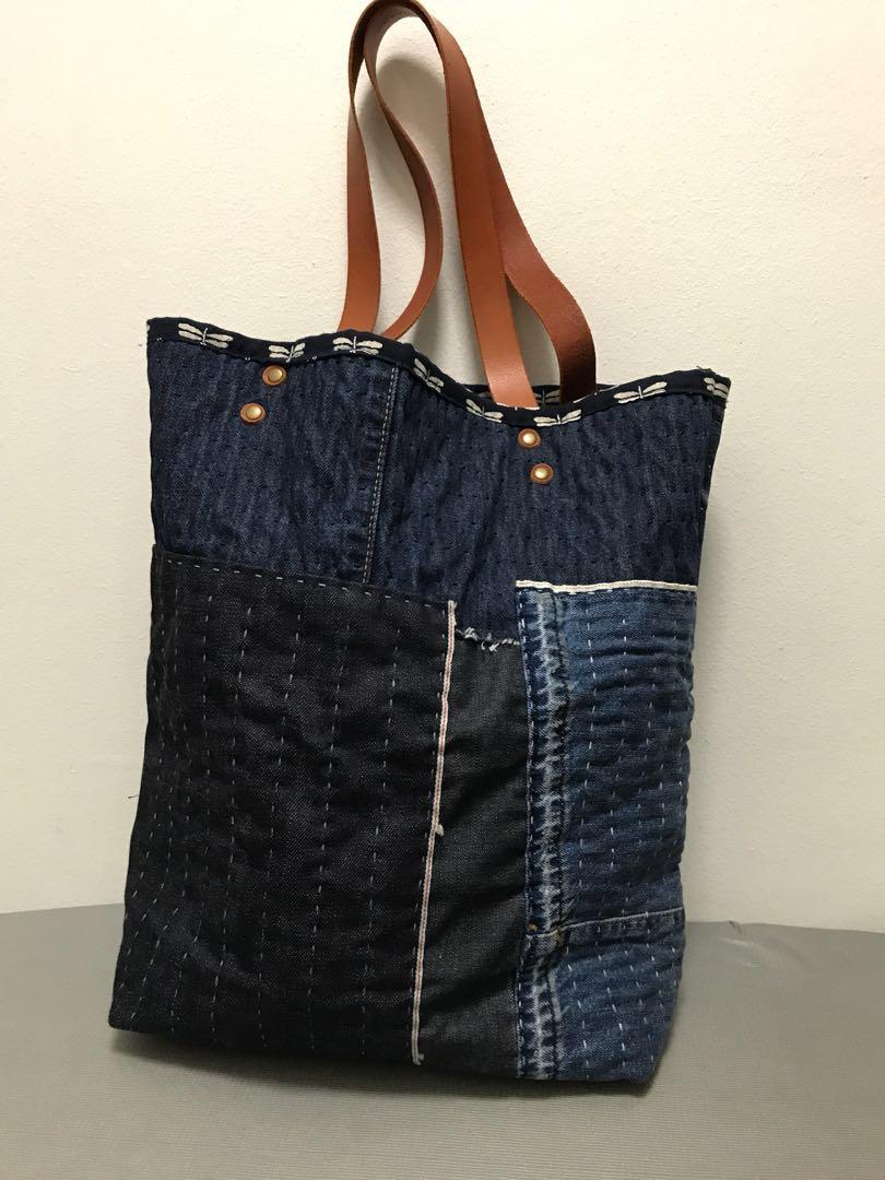 Fin crafted goods tote bag sashiko boro