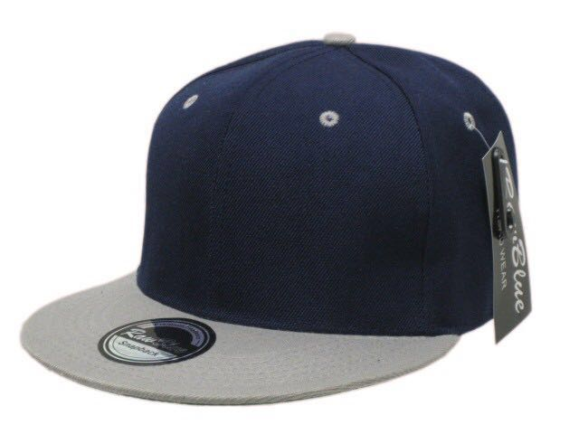 Fitted Flat Peak Baseball Cap in Navy and Grey 74a2055b683