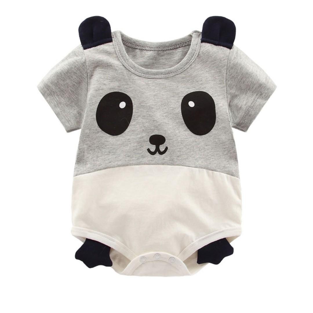 e4d1aa502 🌟INSTOCK🌟 Grey Panda Animal Sleeves Overall Onesies Newborn Baby ...