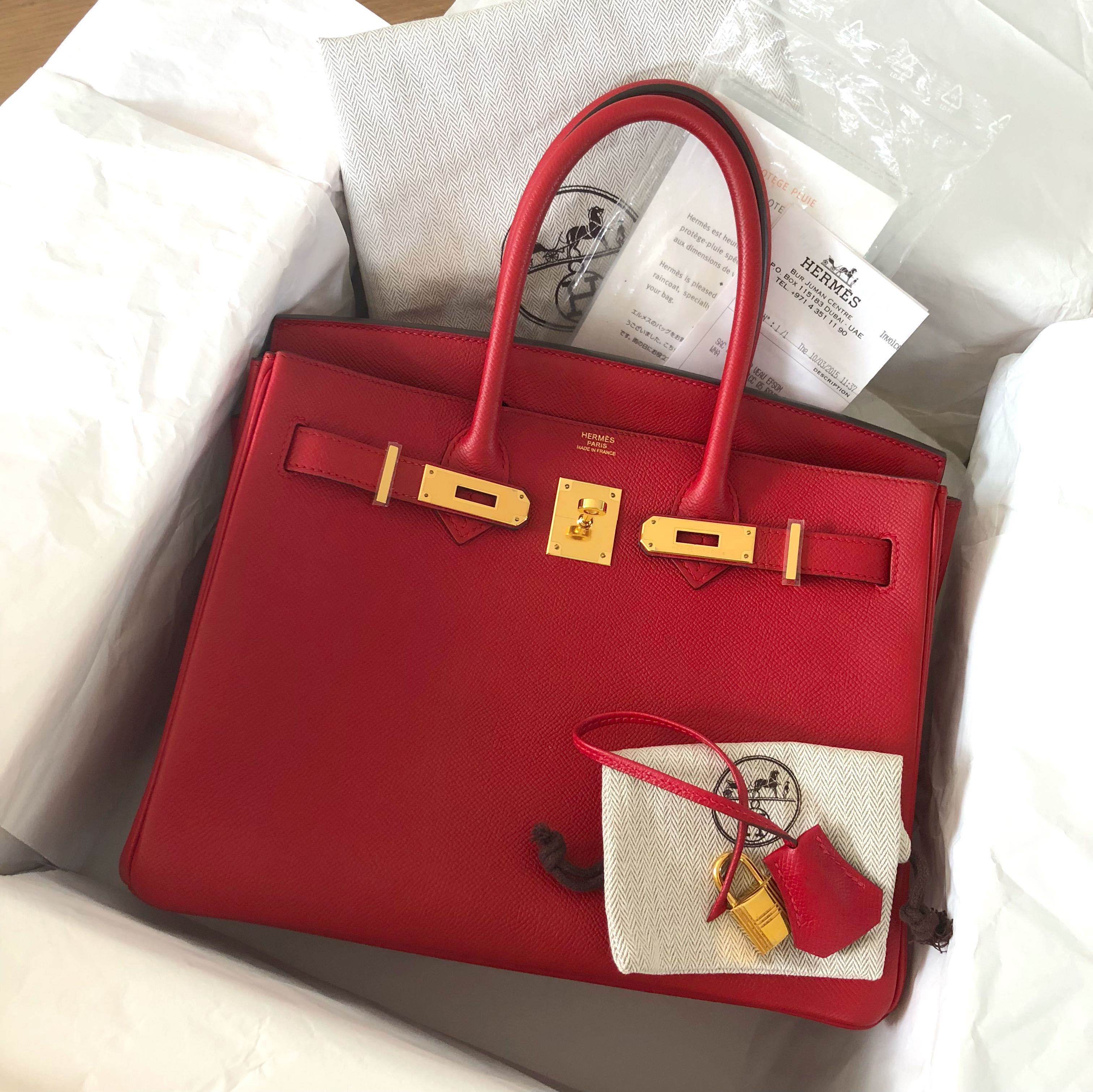 70f95a0166 Like New Hermes Birkin 30 Rouge Casaque Epsom Ghw T stamp