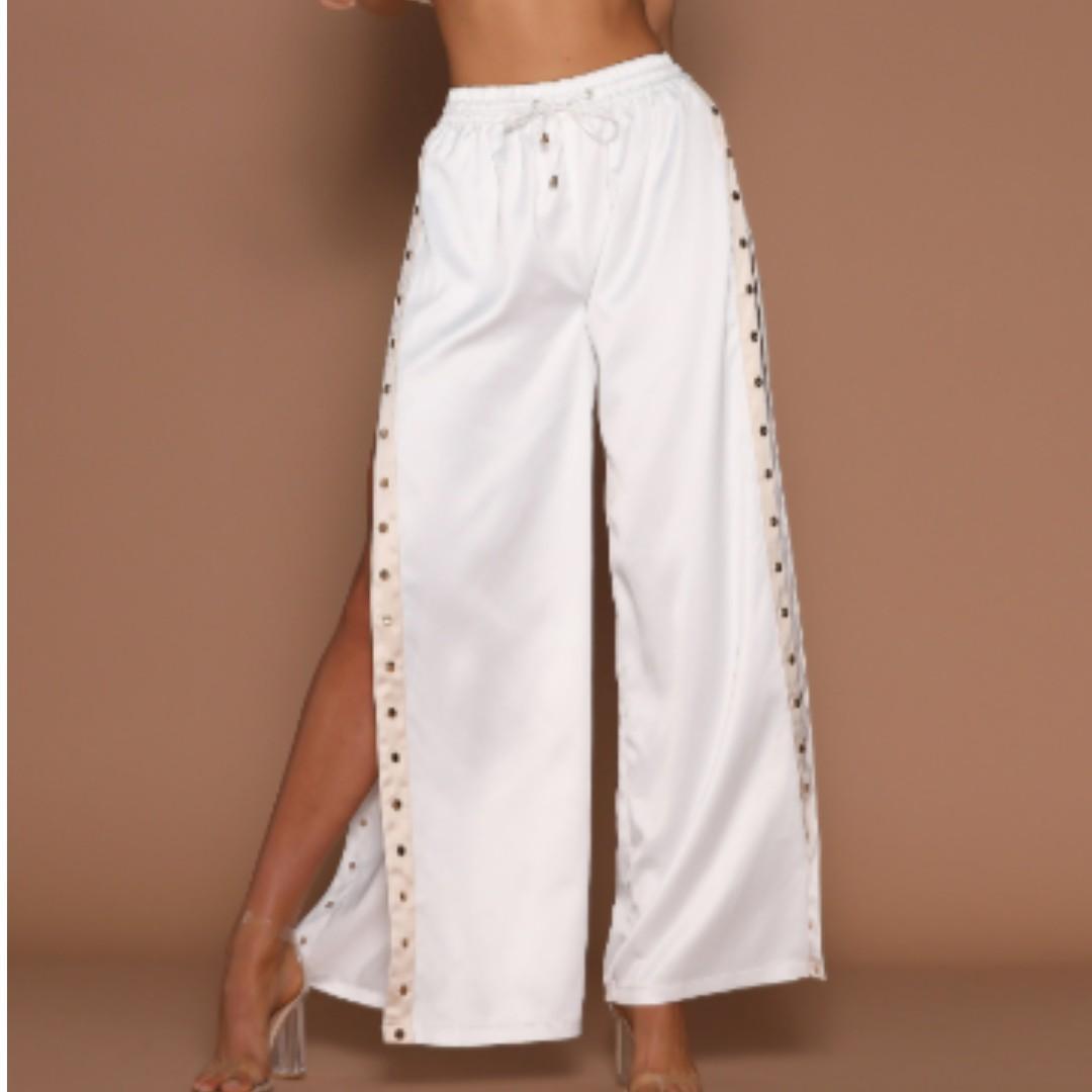meshki taya popper pants white/ nude