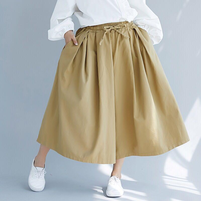 6519955bb1b Plus size elastic waist wide leg skirt pants cropped trousers ...