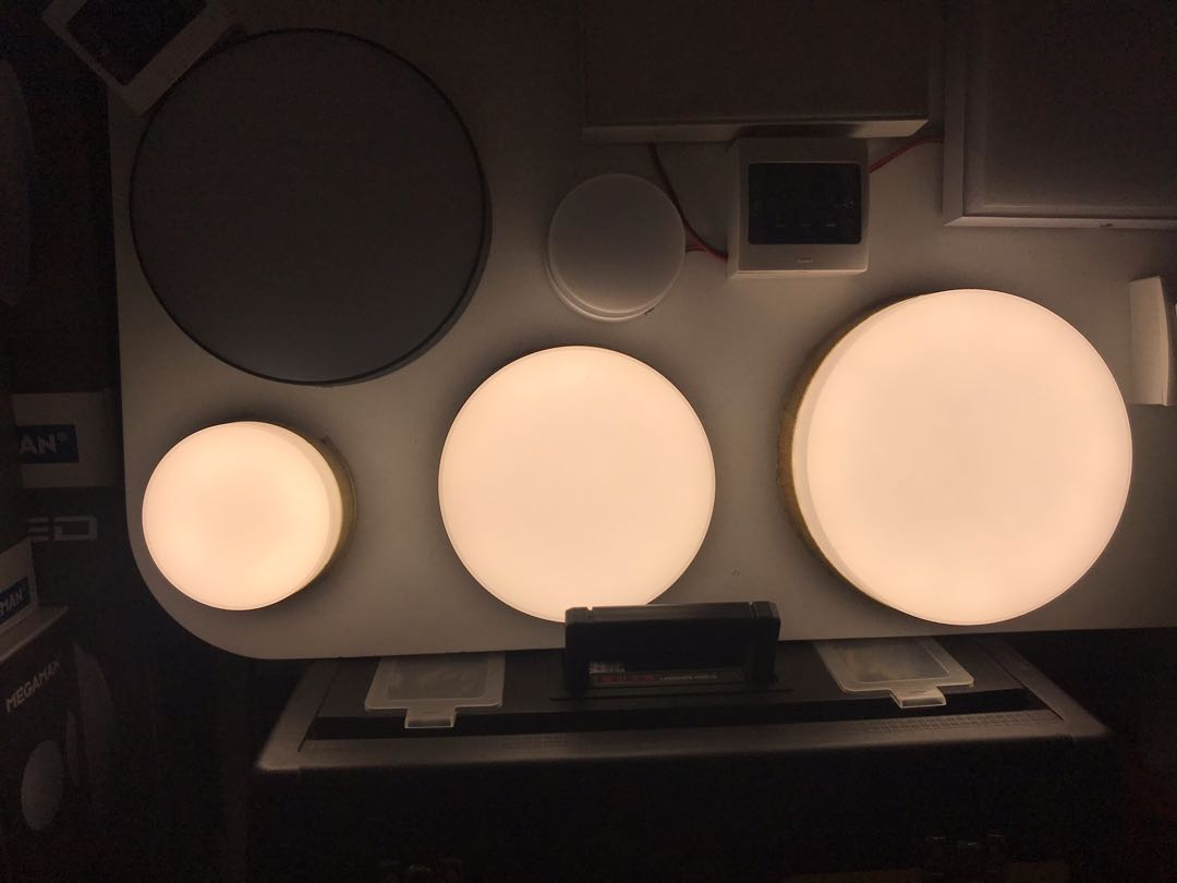 Round Ceiling Light Painted Wood Frame Cool White Light