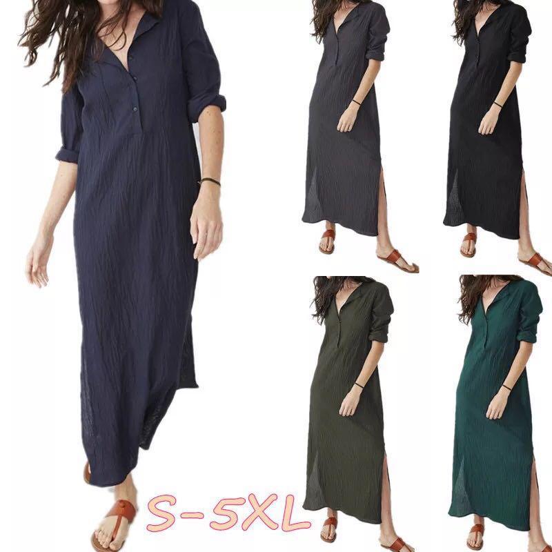 0a11991a95f20 S~5XL) Summer casual loose dress V-neck long sleeve split hem cotton ...