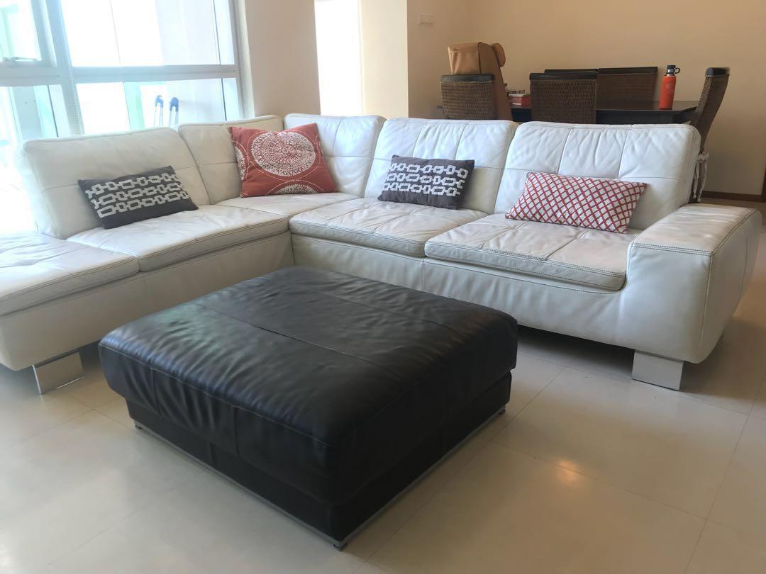 Scandinavian Design White Leather L Shaped Sofa Furniture Sofas On