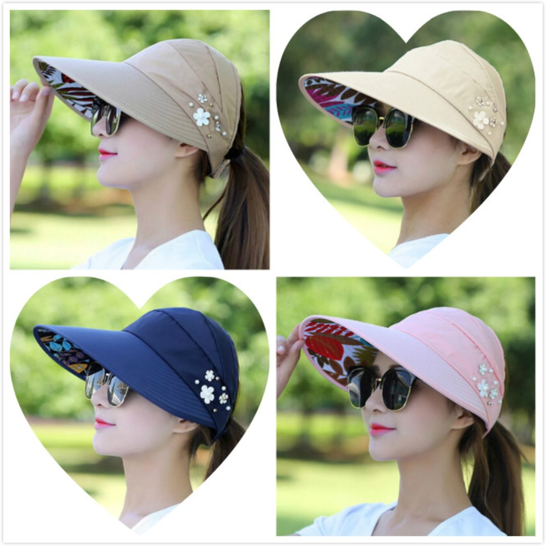 Sun Hats for Women Wide Brim UV Protection Summer Beach Visor Cap ... 6edf19cf571