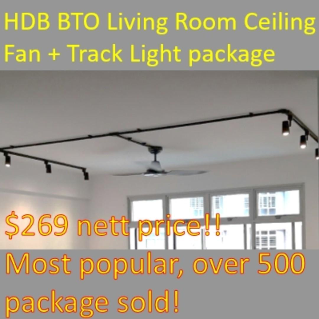 Bto Living Room Track Light And Fan