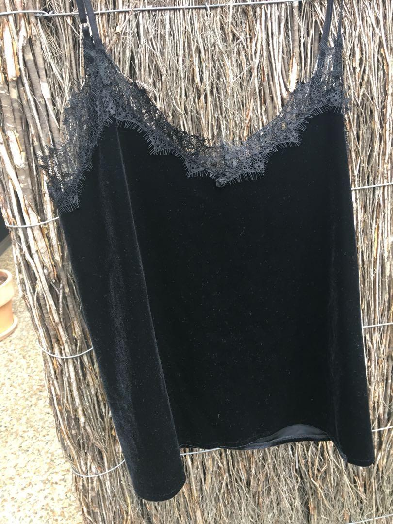 Velvet cami top lace size M vintage look