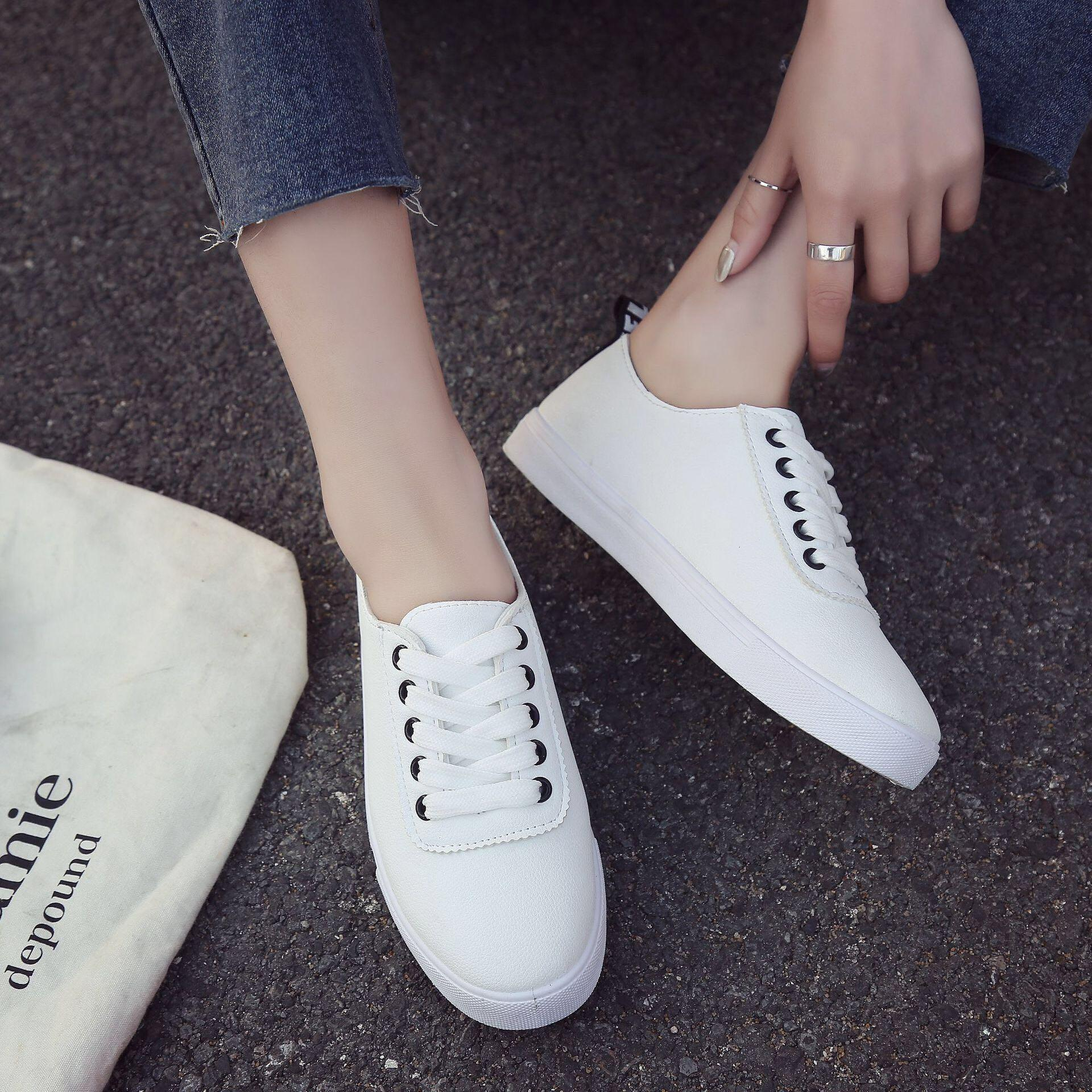 b9e42c53581 White Coloured Crossed Shoelace Tie Sneakers, Women's Fashion, Shoes ...