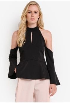 c8f296b94c485 ZALORA Collection Cold Shoulder Peplum Top - BLACK