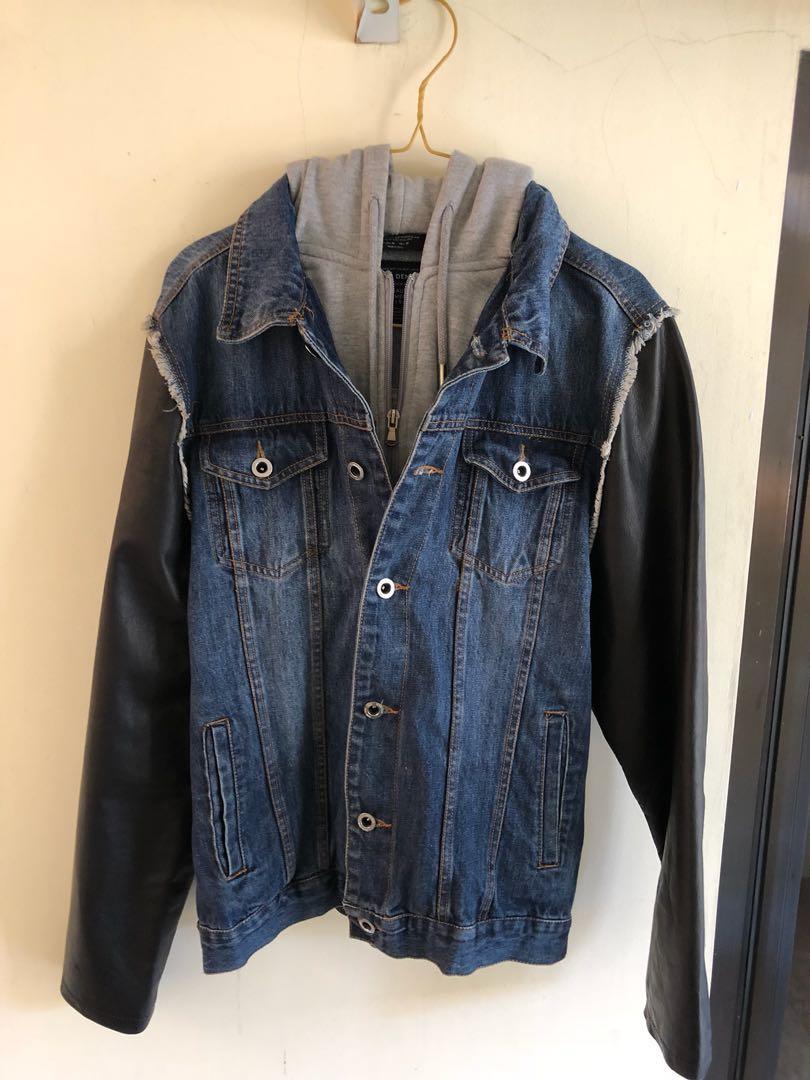 0b00914f8e1fa ZARA HOODED DENIM LEATHER JACKET, Men's Fashion, Men's Clothes ...