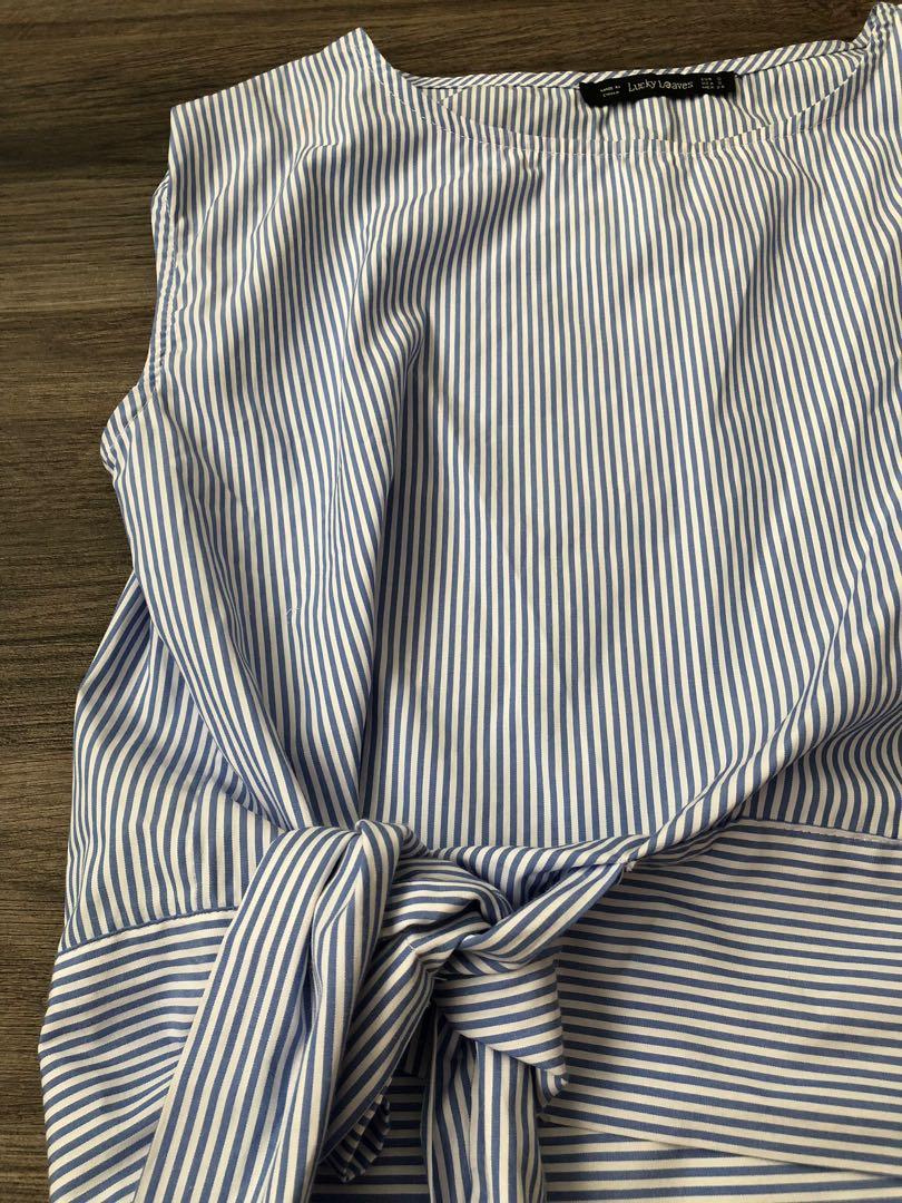 fbf849f8 Zara inspired light blue stripe top blouse with tie, Women's Fashion ...