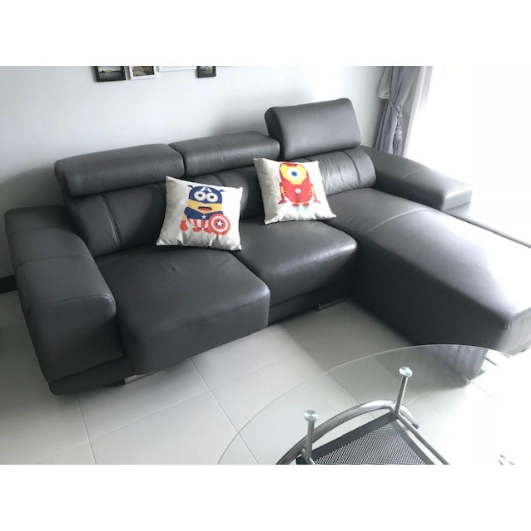 Zolano L Shaped Genuine Leather Extendable Sofa Gray Furniture Sofas On Carousell