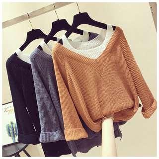 🚚 Fake two long-sleeved sweater loose sweater for size M to XXXXL ( Pre-Order)