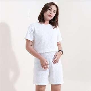 White Knit Eyelet top/Shorts Coordinates