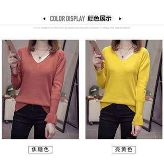 🚚 Large Size V neck slim sweater ( Pre-Order)