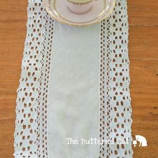 Vintage crochet lace border runner