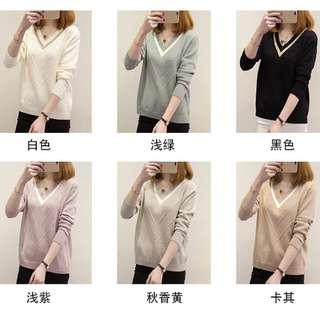 🚚 V Neck sweater for size M to 4XL, 6 colour available  ( Pre-order)