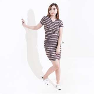 Dark Brown Striped Overlap Bodycon Dress