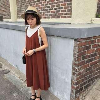 🚚 Banbi.co 磚紅色細帶洋裝