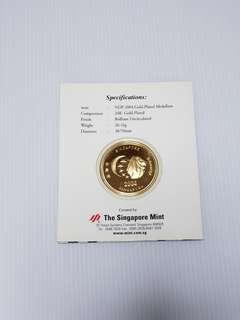 NDP 2004 Gold-Plated Medallion, Singapore Collectible