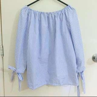 (Price drop) Blue and white tie sleeve off-shoulder blouse
