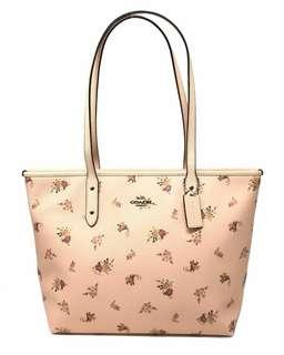 Coach City Zip Tote With Daisy Bundle Print Floral Light Pink Bag