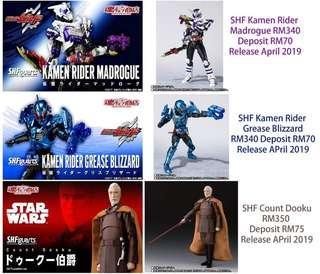 SHF Kamen Rider Madrogue RM340 SHF Kamen Rider Grease Blizzard RM340 SHF Count Dooku RM350