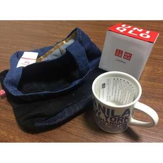 Uniqlo Mug and Upcycled Lunch tote Bag denim collectible display BNEW