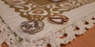 Sterling silver crystal rings