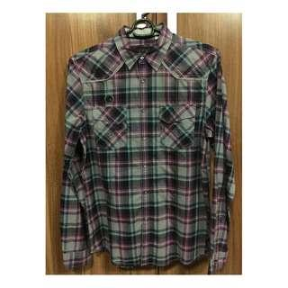 Guess LEGIT checkered purple gray long sleeves M