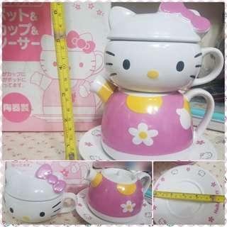 絕版 sanrio hello kitty 陶瓷杯連碟
