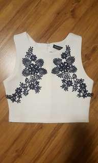 Something Borrowed - white crop top with blue lace