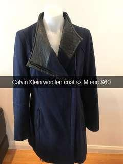 Calvin Klein navy winter coat sz M PU detailing CK