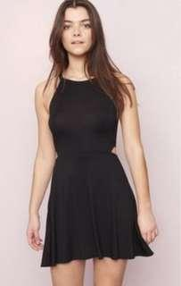 Garage Side Cut Out Fit and Flare Black Dress