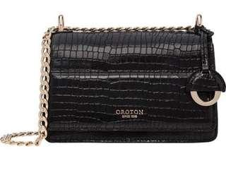 Oroton Mini Clutch Black Croc
