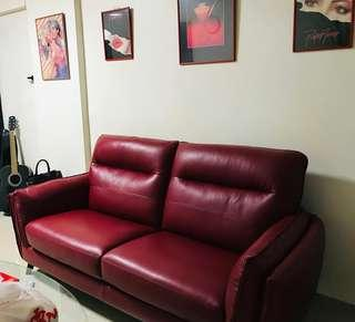 Like New Red Leather Sofa