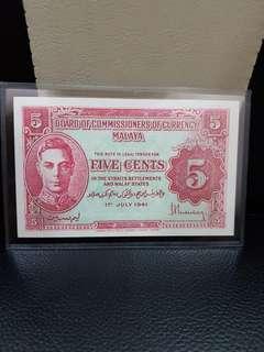 1941 malaya UNC banknote 5 cent