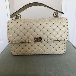 Authentic Valentino Garavani Rockstud Ivory Large Spike Bag