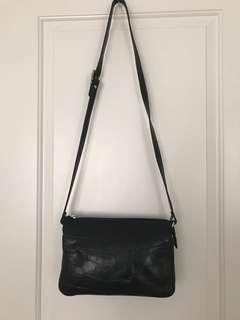 New Black Leather crossbody bag