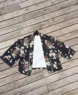 Silk cropped flower jacket
