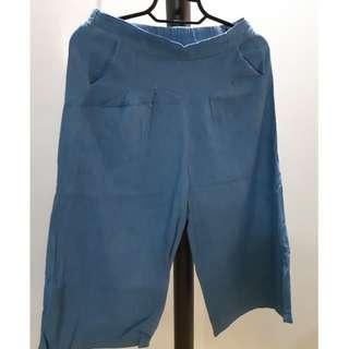 Denim square capri pants