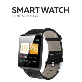 全防水 真皮錶帶- WHATSAPP WECHAT FB IG 信息提示/來電顯示/運動模式/遙控音樂/血壓,心率監測/卡路里計算 /計步器/睡眠監測 Bluetooth smart watch IP67