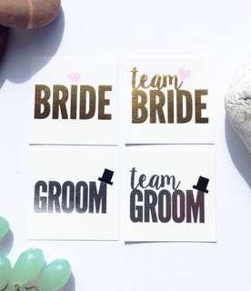 Bride & Team Bride Temporary Tattoos