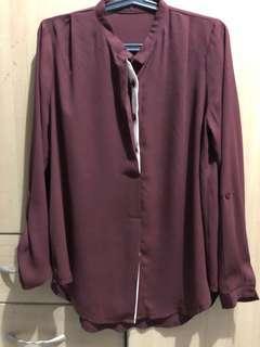 Red wine/maroon chiffon blouse