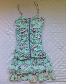 CHILL Green Floral Dress