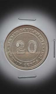 Key Date 1903 Straits Silver 20 Cents