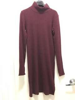 Wilfred free knit dress burgundy sz s