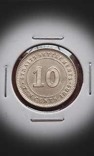 UNC Straits Settlement 1884 Silver 10 Cents